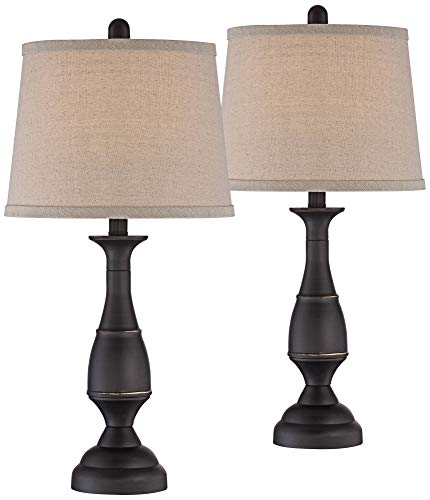 Ben Traditional Table Lamps Set of 2 Dark Bronze Metal Beige Linen Drum Shade for Living Room Family Bedroom Bedside - Regency ()