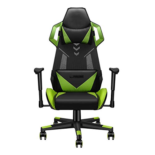LUXMOD Ergonomic Gaming Chair, High Back Swivel Computer Chair, Adjustable Racing Chair with Lumbar Support & Headrest, Recliner Video Games Chair with Adjustable Height and Rocking Angle – Green