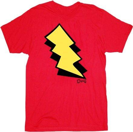 Doug I am Skeeter Lightning Bolt Red Adult Costume T-shirt Tee (Adult (Lightning Bolt Costumes)