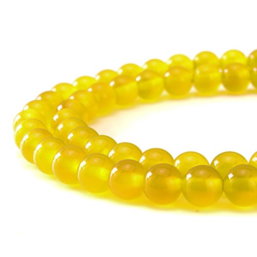 BEADNOVA AAA Natural Smooth Polish 6mm Yellow Agate Gemstone Round Loose Beads For Jewelry Making (Three Strand Gemstone)