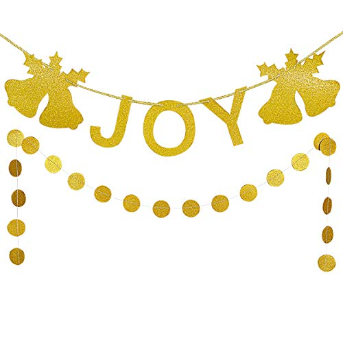 (Gold Glittery Joy Christmas Bell Banner and Gold Glittery Circle Dots Garland (25pcs Circle dots)- Christmas Party Holiday Decorations)
