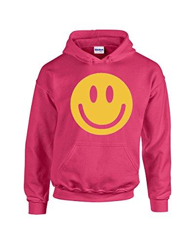 Smiley Face Funny Famous Emoji Unisex Pullover Hoodie Hooded Sweatshirt(Pink,Medium)