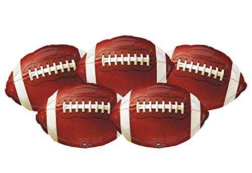 Set of 5 Football Balloons 18″ Foil Mylar Party Balloons Sports Decorations