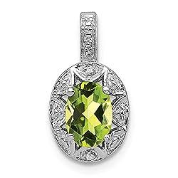 Rhodium Plated Diamond and Peridot Pendant