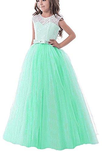 Maxi Long Floor Length Elegant Flower Girls Dresses for Wedding Birthday Pageant Prom Party Dresses Sleeveless Girl Dress Ball Gowns Lace Formal Sundresses Size 7-16 (Mint Green, -