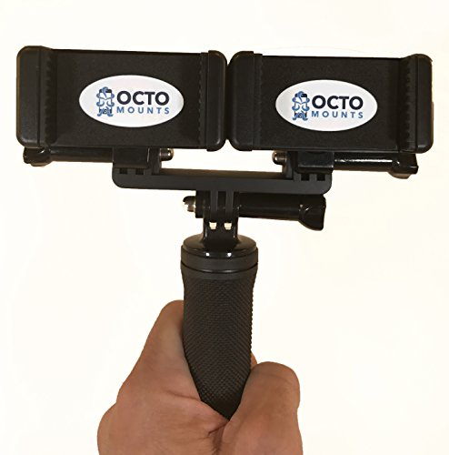 OCTO MOUNT Dual Device Hand-Held Stabilizer for Cell Phone or GoPro Camera. Compatible with iPhones, Samsung Galaxy, HTC, (Octo Safe)