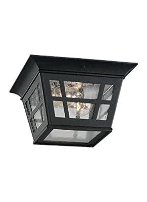 Sea Gull Lighting 78131-12 2-Light Herrington Flush Exterior Close to Ceiling Light, Black