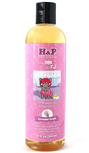 H&P's Certified Organic Pet Shampoo With Coconut Oil and Aloe Vera - Lavender Crush - Veterinarian and groomer recommended - Vera Lavender Collection