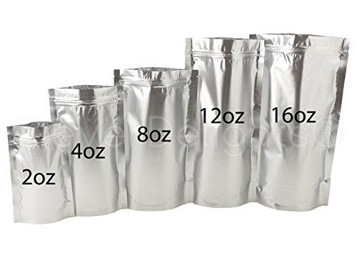 25 Pack - CleverDelights Silver Stand-Up Pouches - 6'' x 11'' x 3'' - 12oz - Resealable Ziplock Bag by CleverDelights (Image #3)