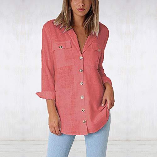 Blouse T t Couleur Bureau de Pink Simple Femmes Unie Chemise Longue Travail Coton Shirt Mi ASSKDAN a6vtYx