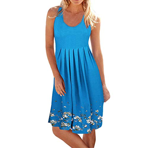 Women Casual Pleated Losse Summer Solid Sleeveless Scoop Neck T-Shirt Midi Tank Dress Sundress (S, Light Blue)