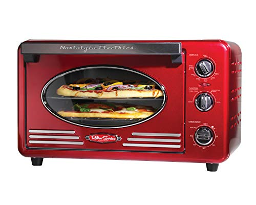 Best for baking pizza: Nostalgia RTOV220RETRORED 12-Slice Convection toaster