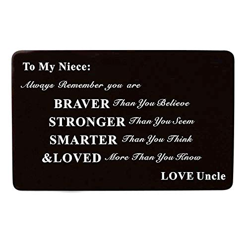 Laser Engraved Aluminum Metal Wallet Card Love Note Insert Card Gift for Niece Birthday Gift from Uncle by Kisseason