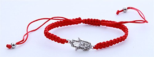 Silver tone Hamsa hand Braided Red string lucky bracelet Bangle Wrist Jewelry - Braided Hamsa Bracelet