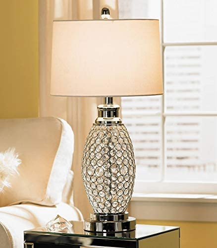 Modern Table Lamp Polished Metal Beaded Crystal White Drum Shade