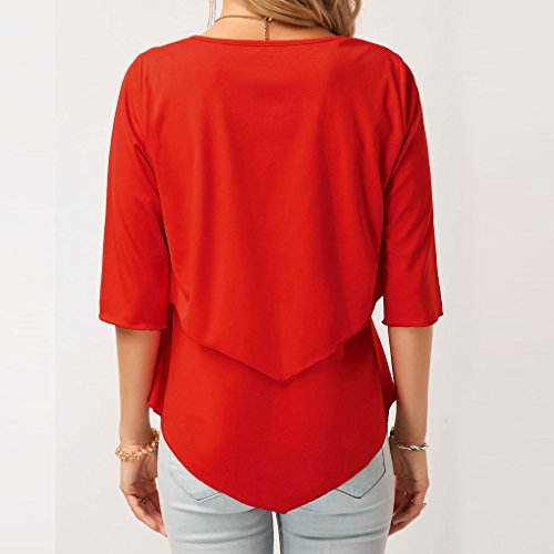 Ourlet Manches Pull Chemisier Rond Masterein suprieure moiti Slim Solide Double Femmes col rouge UwqzzxRT5X