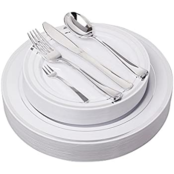 125 Pieces Premium Quality Heavyweight Tableware/Elegant Plastic Disposable dinnerware 25 Dinner Plates  sc 1 st  Amazon.com : elegant plastic plates - pezcame.com