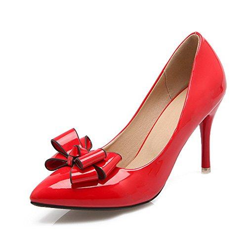Allhqfashion Kvinners Patent Lær Pekte Lukket Tå Høye Hæler Pull-on Solid Pumper-sko Røde