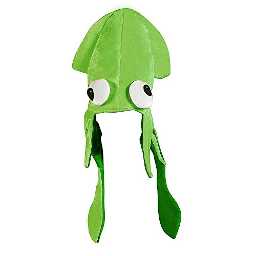 (Green Squid Hat Mix - Large Squid Hat In Green With Crazy)