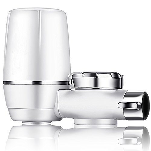Yimaler Faucet Water Filter, On Tap Water Faucet Filtration System with 0.01 Micron 7 Stage Filtration Ceramics Filter for Home Kitchen Fits Standard Faucets Only White by Yimaler