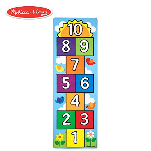 Melissa & Doug Hop & Count Hopscotch Rug (Play Space & Room Decor, Sturdy Woven Floor Rug, Durable Materials, Skid-Proof Backing, 27