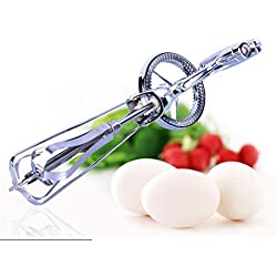 Elaco Stainless Steel Manual Egg Mixer, Rotary Manual Hand Whisk Egg Beater Mixer Blender Stainless Steel Kitchen Tools (Silver)