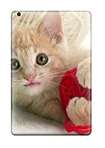 Tpu Phone Case With Fashionable Look For Ipad Mini 3 - Kitten With Green And Red Yarn 6379880K21538577