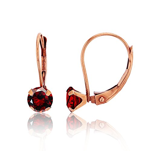 4 Prong Round Martini Earrings - 14K Rose Gold 6mm Round Garnet Martini Leverback Earring