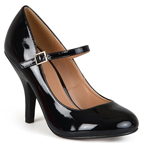 Journee Collection Womens Patent Round Toe Mary Jane Pumps Black, 8.5 Regular (Shiny Black Mary Jane)