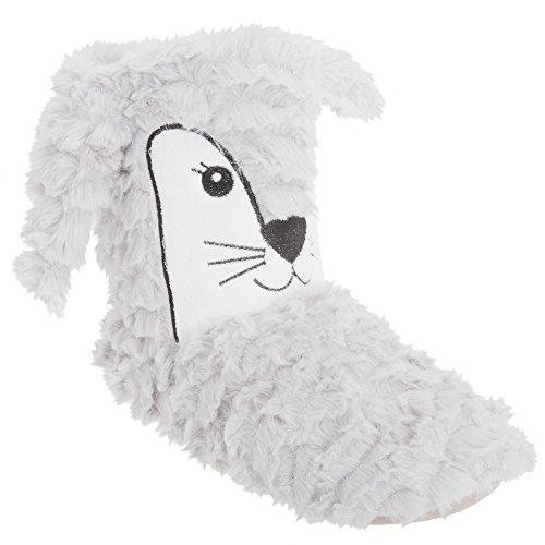 Dames / Dames Dieren Design Faux Fur Slipper Boots Beige (vos Design)