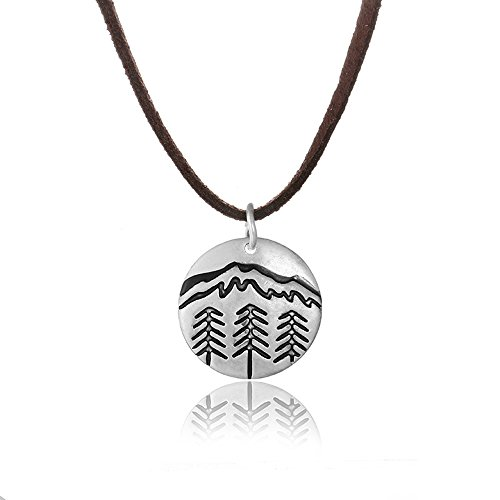 MUZHE Antique Silver Tiny Mountain Forest Necklace, Nature Wilderness Trees Hiking Camping Pendant Necklace for Outdoor Lovers, Skiers and Hikers (Leather rope) (Nature Antique)