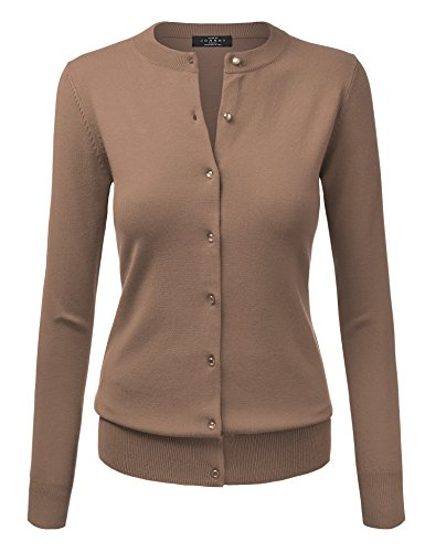 WSK781 Womens Keep It Classic Round Cardigan L KHAKI