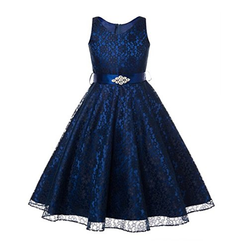 Sweetylife V-Neck Lace Short Girls Formal Occasion Flower Girl Dress Princess Dresses With Belt Navy Blue Size 12