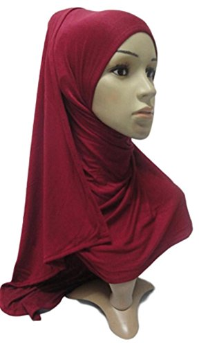 No-Pin Cotton Jersey Hijab Burgundy by Hijab Pins Plus (Image #2)