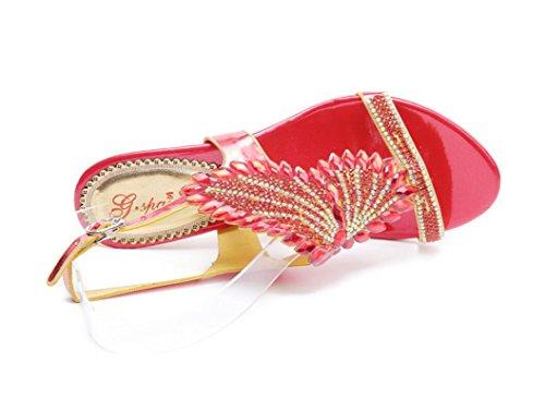 5cm Romano Estilo La Sandalias El thick Zapatos Boda Xie Red Rojo Heel Señoras Formal Del Las Inserte Redthickheel Los 36 Bohemio 36 Banquete Rhinestones Talón Áspero Diamante De A7OwqUP71