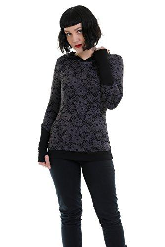 Blusa larga dama / Ropa gótica moda en color negro / Sudadera manga larga con agujero en los puños para el pulgar, puños extra largos de 3Elfen, jersey con capucha estampado blonda de flores