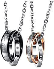 2 Pcs Couples Puzzle Pendant Love Necklace Set