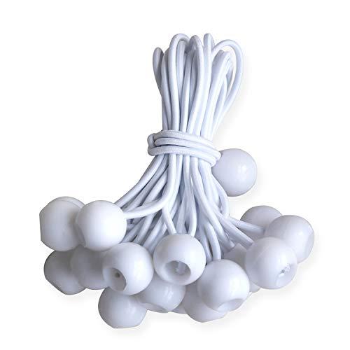 - ABCCANOPY Heavy Duty Ball Bungee Canopy Tarp Tie Down Cord Elastic String Ball Bungee tarp Ball Ties(White 20pcs, 6
