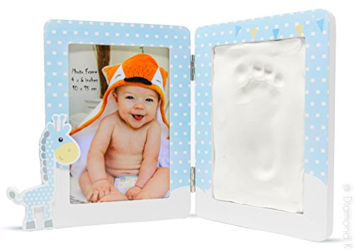 Baby Handprint & Footprint Clay Kit - Picture Frame DIY with Premium Wooden Frame & Non-Toxic Unique Baby Shower Gift for New Moms or Baby Registry - A Memorable Keepsake | By BABY FLÖ - Baby Wooden Picture Frame