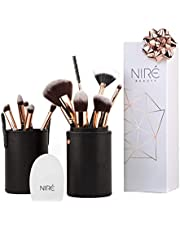 Niré Beauty Next Level Kabuki: Professionell Pinselset Makeup Kabuki + Kosmetikbeutel für Kosmetikpinsel & Pinselreiniger Kosmetik *** Ideal Geschenke