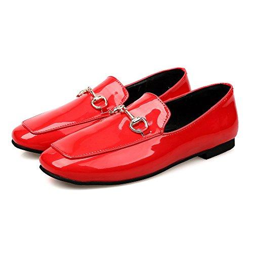 Amoonyfashion Donna Tira Su Punta Quadrata Chiusa Senza Tacco Scarpe Basse-scarpe Rosse