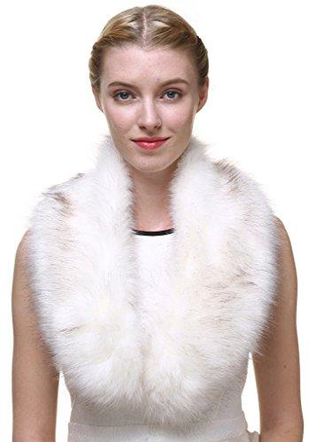 Vogueearth Women'Neck Scarf For Winter Coat Collar Faux-Fox Fur Cream White