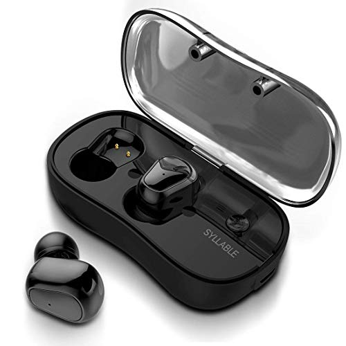 Wireless Earbuds with Detachable Battery and Charging Box, Syllable Bluetooth Headphones in-Ear SweatProof Stereo Earphones with Mic for iPhones and Android (Black1)