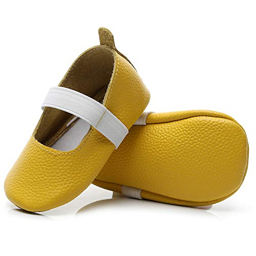 HONGTEYA Baby Girls Mary Jane Shoes Ballet Princess Flats Soft Soled Leather Summer Leopard Sandals for Toddlers (3-6 Months/ 4M US Toddler, Yellow)