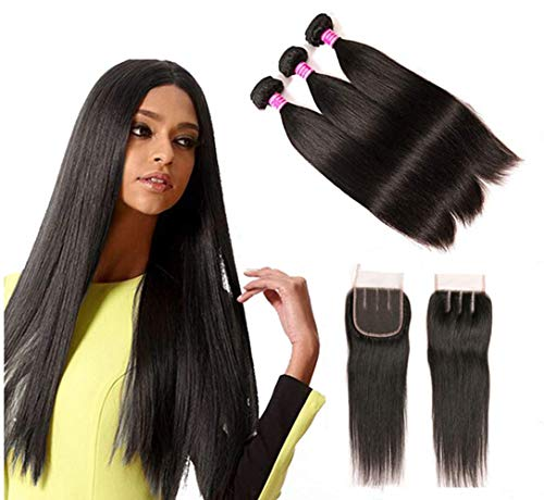 Blowing Straight Hair 3 Bundles with Closure Brazilian Virgin Hair Three Part Lace Closure with Bundles 8a Straight Human Hair Weft with Closure Three Part Natural Color(10 12 14+10,Three part)