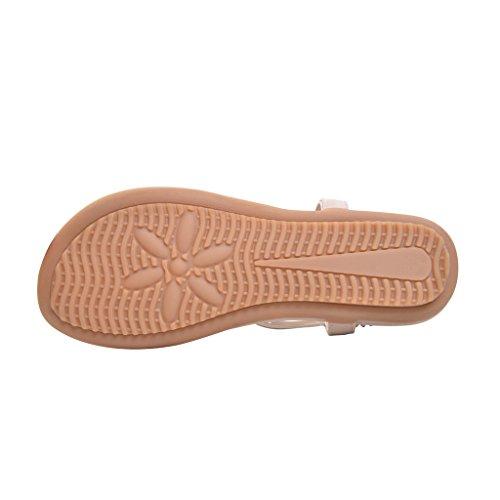 Sommer Böhmen T-stropp Kvinner Flat Thong Sandaler Med Kjære Tid Beige