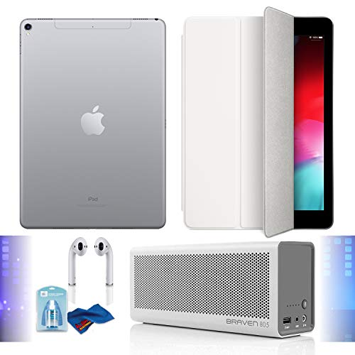 """Price comparison product image 12.9"""" iPad Pro (Mid 2017,  512GB,  Wi-Fi + 4G LTE,  Space Gray),  Airpods,  White Smart Cover,  Braven Speaker Built-in 4400 mAh Power Bank Charger and Cleaning Kit Bundle"""