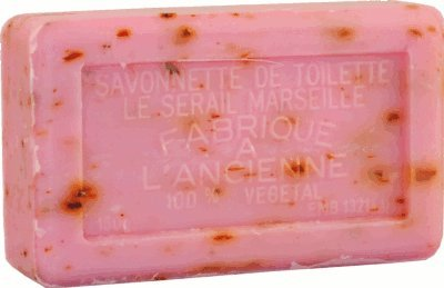 Savon de Marseille (Marseilles Soap) - Rose Petal Soap Exfoliating Bar 150g - Handcrafted pure French milled soap with crushed Provençal flowers
