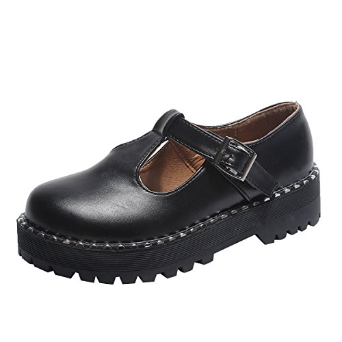 Dear Time Women's T-Strap Oxfords Buckle Mary Jane Platform Brogue Shoes Black US 7