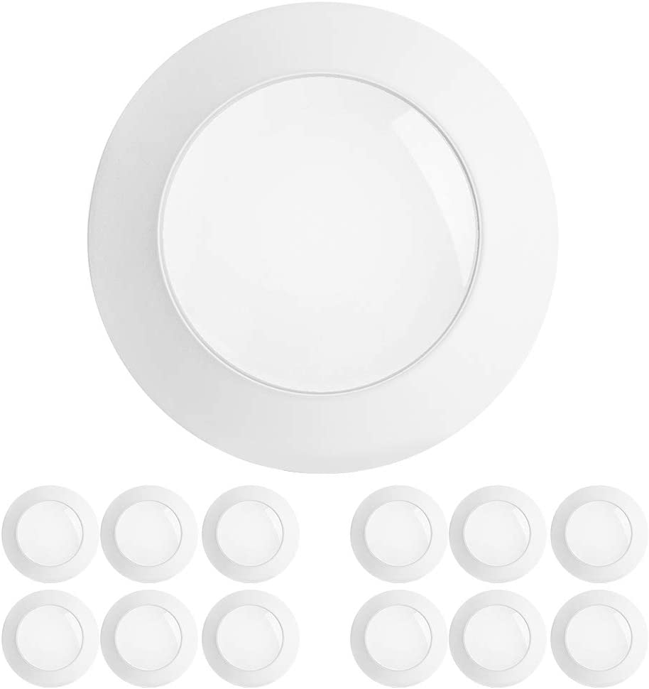 Freelicht 12 Pack 5/6 Inch Flush Mount LED Disk Light, 15W=120W, 5000K Daylight, 1100LM, Dimmable, Hardwire 4/6